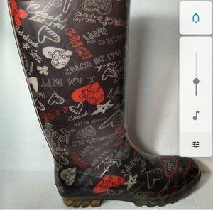 Coach black red poppy heart designed rainboots 11